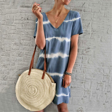 Fashion V Neck Stripe Splicing Casual Dresses