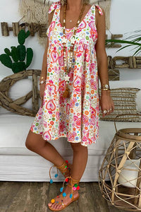 Casual Round Neck Sleeveless Printed Colour Loose Dress