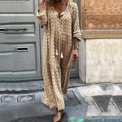 Bohemian Flower Print Long Sleeve V-Neck Routine Casual Dress