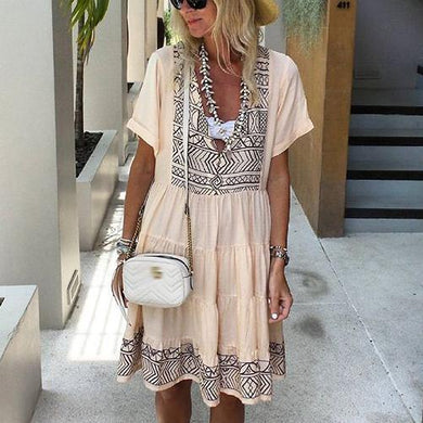 Pattern Embroidered Cotton Short Sleeve Vacation Casual Mini Dress