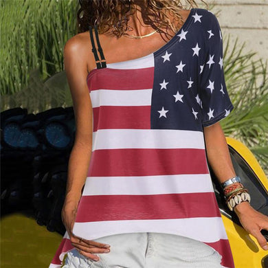 Women's One Shoulder Sexy Sling American Flag Printed Slim Short Sleeve T-Shirts