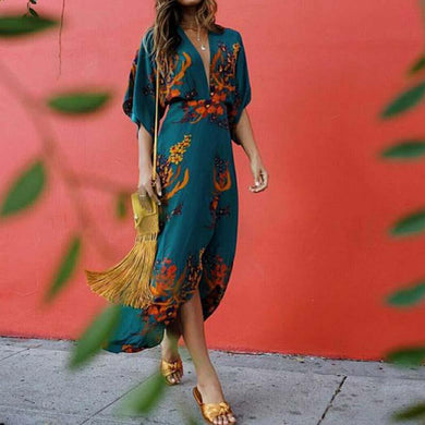 Boho Casual Printed Colour Split V Neck Dress