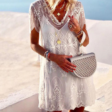 Elegant V Neck Embossed Short Sleeve Pure Colour Mini Dress