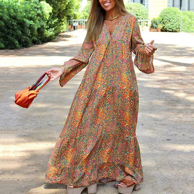 Bohemian Long Sleeve V Neck Floral Pattern Loose Casual Maxi Dress