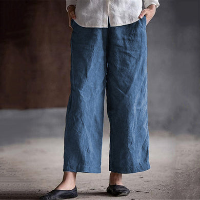 Solid Color Casual Loose Cotton Straight Trousers