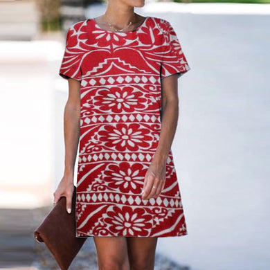 Casual Round Neck Print Shift Dress
