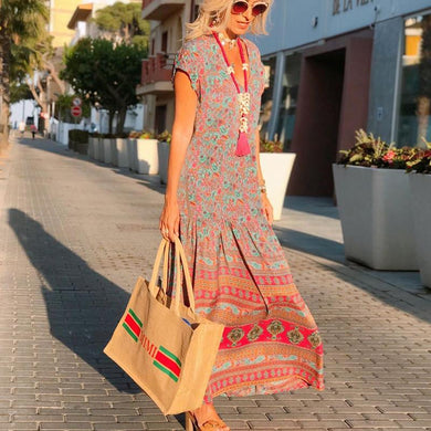 Boho V Neck Printed Ruched Casual Maxi Dress