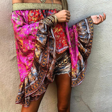 Fashion Word Shoulder Trumpet Sleeve Ethnic Style Print Shirt