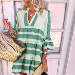 Sweet Deep V Neck Stripe Petal Sleeve Loose Dress