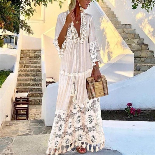 Women's Bohemian Deep V Lace Fringe Dress