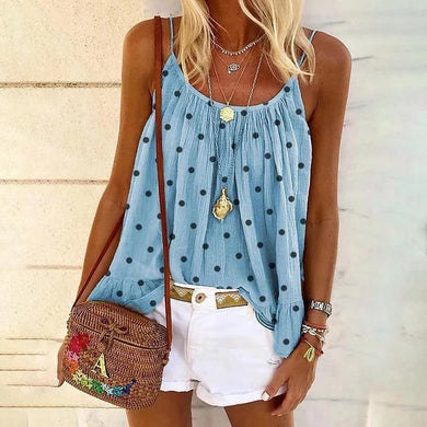 Casual Sling Polka Dot Loose Tank shirt