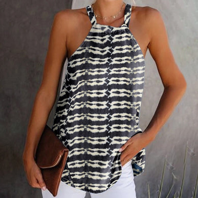 Hanging Collar Stripe Broken Hole Loose Off-Shoulder Tank Top