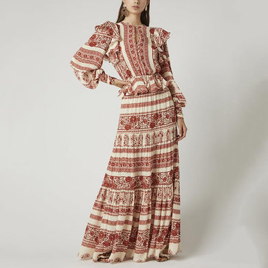 Bohemian Lantern Sleeve Printed Ruffles Long Dress
