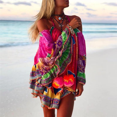 Vacation Beach Loose Off Shoulder Halter Pom-Poms Colorful Printed Top