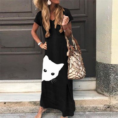 Women's Casual Cartoon V-Neck Short Sleeve Loose Dress