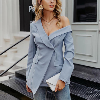 Women's Fashion Pure Color Single Off-Shoulder Resist Blazer
