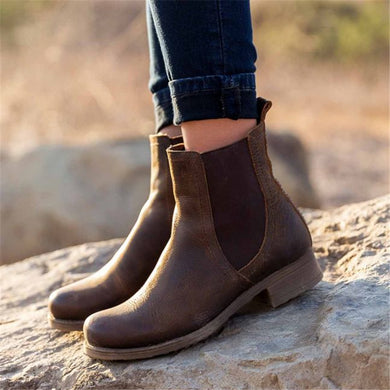 Women's Solid Color Stitching Chelsea Ankle Boots