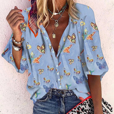 Casual Printed Colour Single Breasted Loose Blouse