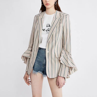 Fashion Striped Bell Sleeve Blazer