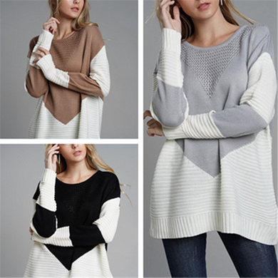 Casual Loosely Color Matching knitted sweater