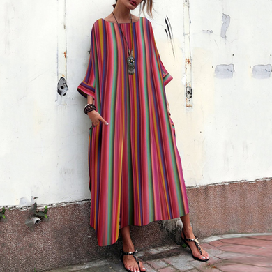 Flash Sale Bohemian Striped Bell Sleeve Maxi Dresses