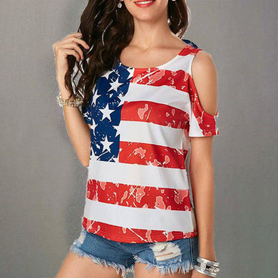 Sexy Off Shoulder O Neck Flag Printed T-Shirts
