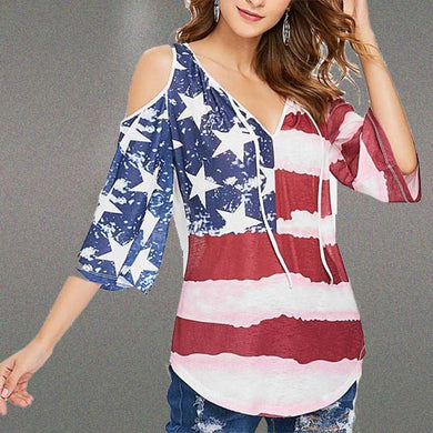 Women's Round Neck Five-Points Sleeves American Flag Printed Loose T-Shirts