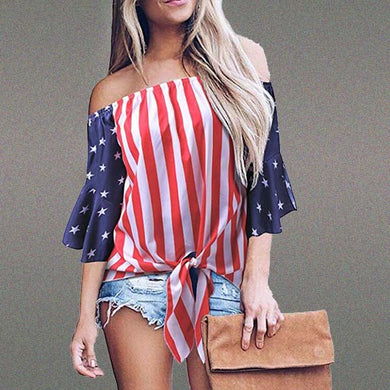 Patchwork Stripes Off Shoulder Flare Sleeve T-Shirts