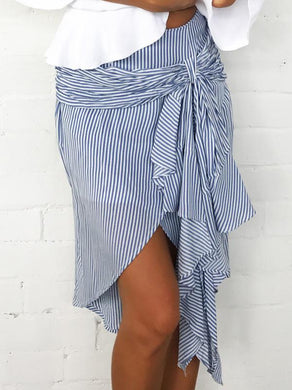 Striped Bandage Bow Irregular Skirt