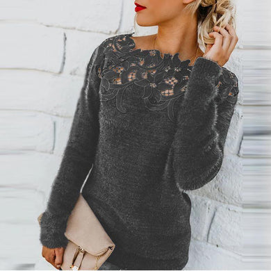 Sweet Solid Color Stitching Lace Long Sleeve Sweater