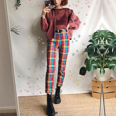 Modern Style Colorful Plaid Printed Casual Pants
