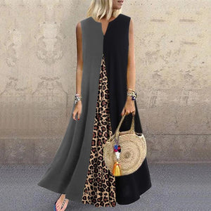 Bohemian V-neck stitching leopard sleeveless dress