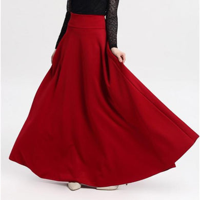 High Waist Pleat Elegant Plus Size Long Skirts
