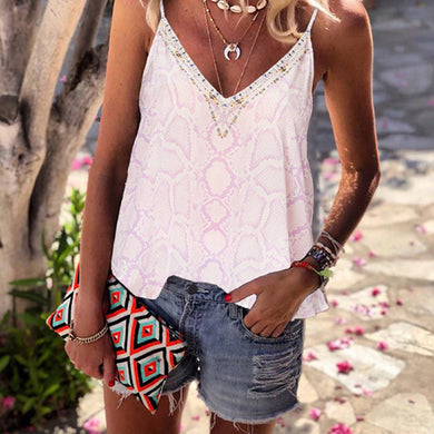 Fashion casual snake-print camisole T-shirt