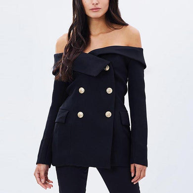 Fashion Off-Shoulder Double-Breasted Blazer