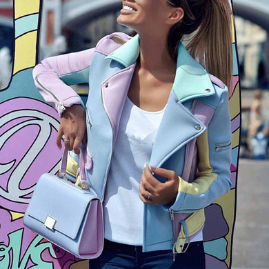Fashion Casual Color Block Wide Lapel Slim Jacket Coat
