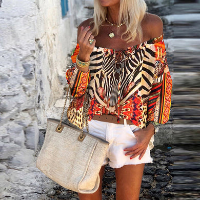 Bohemian Neck Long Sleeve Print Blouse
