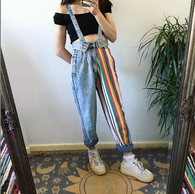 Rianbow Stripe Loose Fitting Denim Jeans