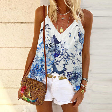 Fashionable leisure peony in full bloom printing halter vest