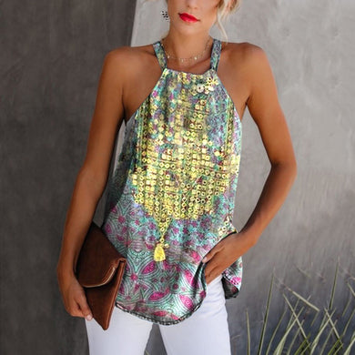 Bohemian Off-Shoulder Printed Halter Vest