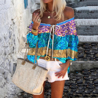 Women's Bohemian Printed Color Boat Neck Drawstring Blouse
