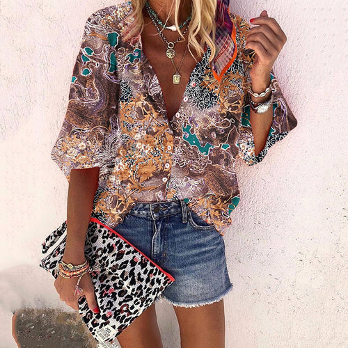 Bohemian casual engraved printed shirt