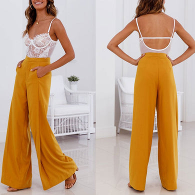 Fashion Casual Pants Plain Jumpsuits