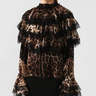 Fashion Lace Leopard Print Stitching Lace Sleeve Blouse