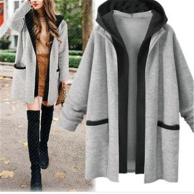 Fall And Winter Fashion Hooded Two Long - Style Jacket