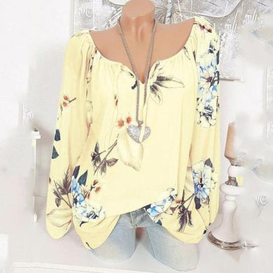 Printed Long Sleeve Casual Blouse
