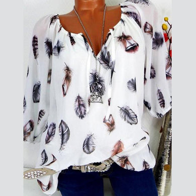 Cotton Tie Collar  Feather  Three-Quarter Sleeve Blouses