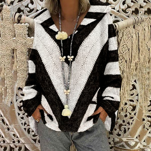 Fashion Colorblock Striped Knit Sweater