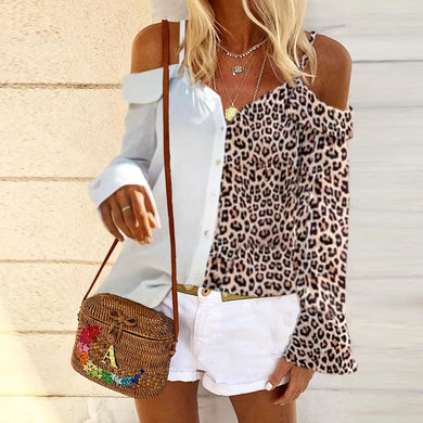 Fashion Sexy Off Shoulder Leopard Stitching Blouse