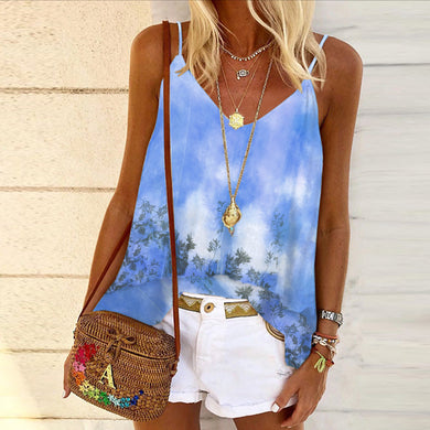 V-neck halter vest with color block